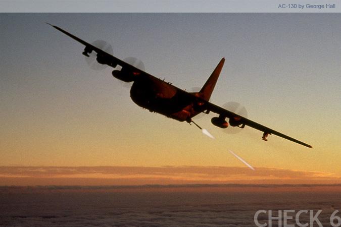 US Air Force AC-130 Spectre  C 130 Gunship Firing